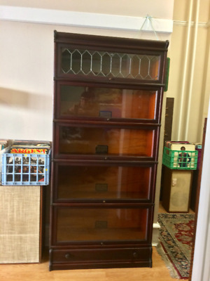 Antique 5 Barrister  Book case Clean 1910s Globe Wernicke Arts & Crafts Mahogany