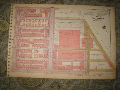 Antique Harlem New York City Manhattan Map Trinity Cemetery Elevated Train Rare