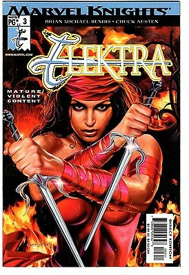 Elektra # 3 2001 Nm- Greg Horn Cover Recalled Nude Edition Marvel Knights Bendis