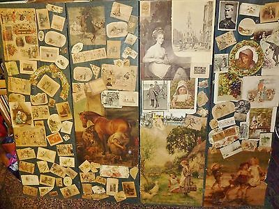 late victorian large scrap screen chromolithos scraps postcards on cloth frame