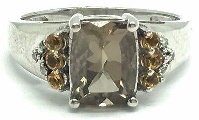 Sterling Silver Faceted Smoky Quartz Citrine Diamond Accent Cocktail Band Ring