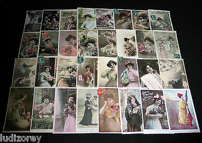 Lot B42 : 32 Cpa Miss Lady Mode Elegance Charme Pin-Up Beaute Belle Epoque 1900