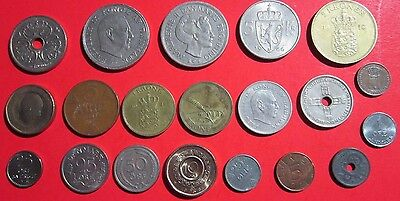 Scandinavia. Vintage Lot Of 20 Assoeted Coins. Sweden, Norway, Denmark See Pics