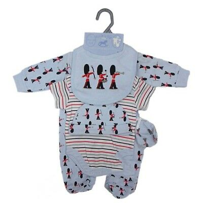 baby boy blue soldiers net bag gift 5 pc set outfit sise nb,0-3,3-6 months