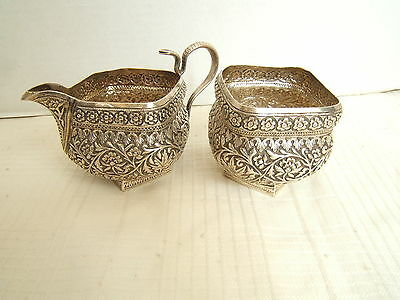 Antique Indian India Repouse Silver Creamer & Sugar Cobra Handle 19Th Beautiful