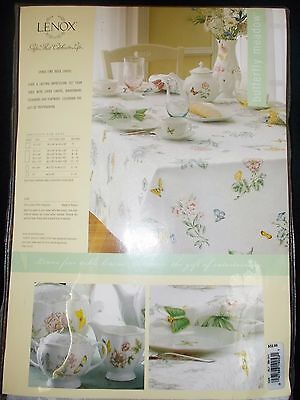 """Totally Brand New Lenox Butterfly Meadow Pattern Tablecloth 60"""" By 84"""" Oval!!"""
