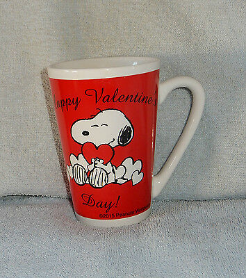 Peanuts Snoopy Happy Valentines Day Tall Red Ceramic Mug Cup