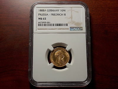 1888 Germany 10 Mark Gold coin NGC MS-65