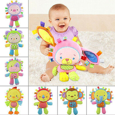 Infants Kids Animal Soft Plush Baby Hand Bells Educational Doll Toy 0-12 Months
