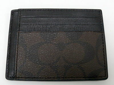 NEW COACH F75027 MENS SIGNATURE PVC LEATHER  CARD CASE ID  Mahogany Brown $75.00
