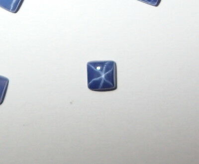Blue Star Sapphire Square 4x4 mm Flat Cabochon sharp cornered 6 Rayed Stone