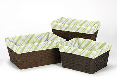 Leap Frog Plaid Organizer Storage Kids Basket Liners Fits Small Medium Large Bin