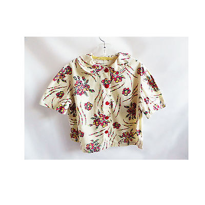 Vintage 50s Girls Blouse Camp Shirt Cotton Floral 40s Red Yellow