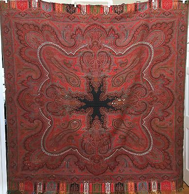 """ANTIQUE SCOTTISH PAISLEY SHAWL SCARF WITH 8 POINT STAR  68""""x 67"""""""