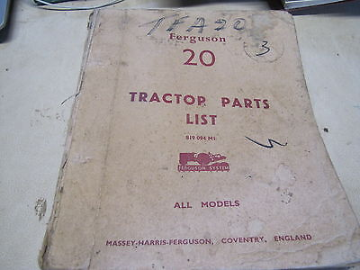Massey Ferguson  Tractor Tea 20 Parts List All Models
