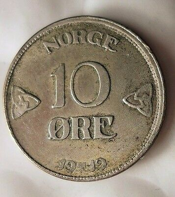 1919 NORWAY 10 ORE - AU - Very Scarce Vintage Silver Coin - Lot #812