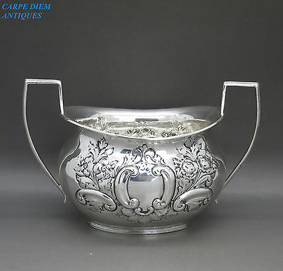 ANTIQUE ORNATELY EMBOSSED HEAVY SOLID STERLING SILVER SUGAR BOWL,173g CHEST 1896