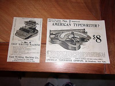 "(2) 1895 Typewriter Original Print Advertisements, "" October Munsey"""