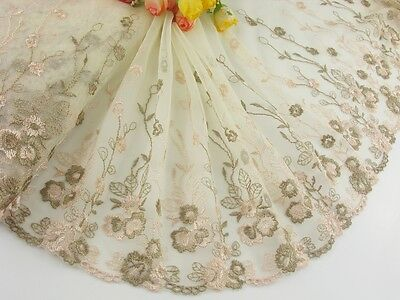 """8.5""""*1yard Delicate Embroidered  flower   tulle Lace Trim DIY 0470"""