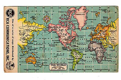Rca Communications World Map Advertising Card Worldwide Wireless