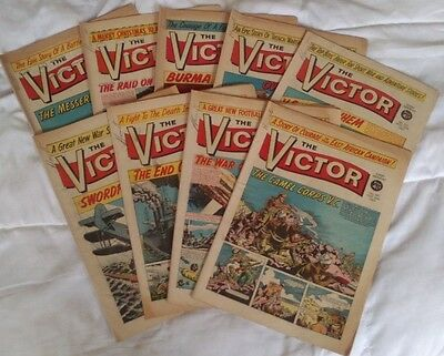 The Victor comic 1963 (x 9). Includes Xmas issue. Good comics