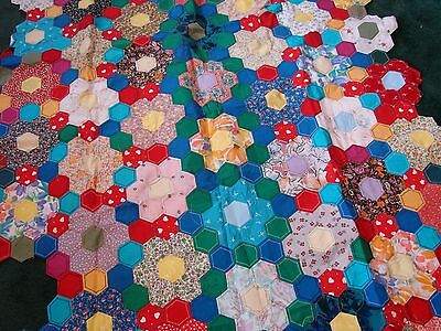Vintage large hand stitched unfinished patchwork to make quilt,small hexagonals