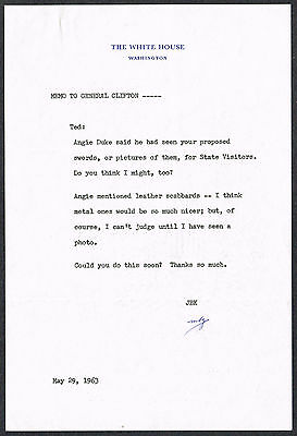 Mary Barelli Gallagher/Personal Secretary to Jackie Kennedy/Initialed Memo 1963