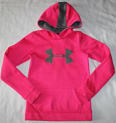 Under Armour Hoodie Girls Youth size Small S SM Hot Pink Gray Clothes