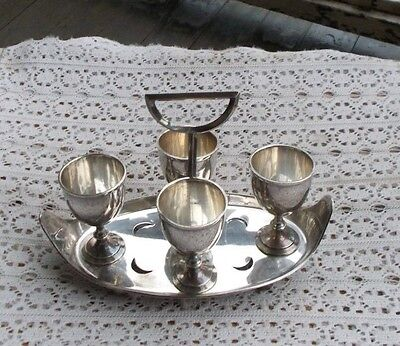 "Vintage Silverplate Egg Holder Tray Cups Goblets SET 4 Server 8"" WH&S MP Co."