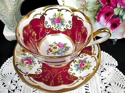 Salisbury Tea Cup And Saucer Red & Floral Gold Gilt Teacup Pattern