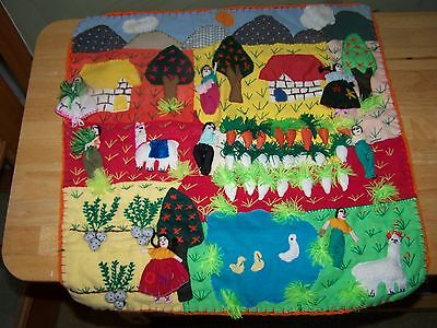 Made in Peru 19x19 Detailed 3d Wall Hanging Quilt Tapestry!!
