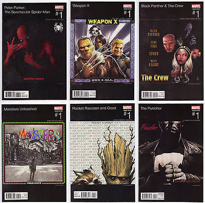 Lot of 6 Marvel Hip Hop Variant Cover Comics  - Weapon X, Rocket & Groot & More