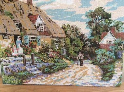 Nice Completed Tapestry Of A Cottage Scene From Artist Ar Quinton