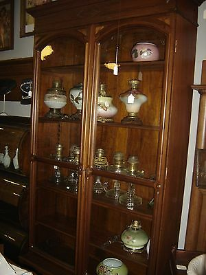 Antique Walnut Victorian Step-Back Lawyer Bookcase .   7327