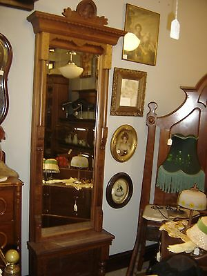 Antique Walnut Eastlake Peer Mirror with Marble Top 8235