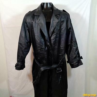 PHASE 2 Long LEATHER Trench COAT Womens Size 2X Black