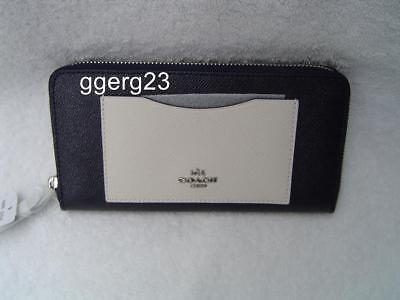 New Authentic Coach Midnight Blue Color Block Leather Zip Around Wallet #86858