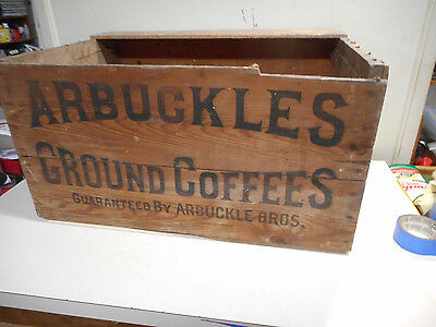 Antique Arbuckles Wood Coffee Tin Shipping Box Crate Vintage Country Store Sign