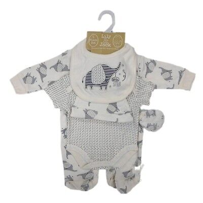 Baby Unisex Neutral Elephant 5 Pc Net Bag Gift Set Outfit Size NB,0-3,3-6 Month