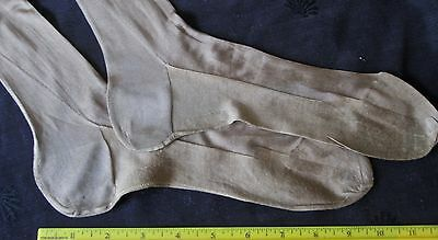 antique 1920s silk stockings pair w seams+high heel, golden tan color, one issue