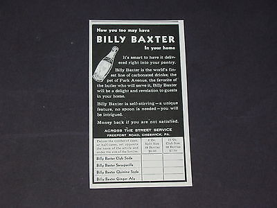 Vtg 1939 BILLY BAXTER SODAS Cheswick Pa. GINGER ALE CLUB etc. Original Print Ad