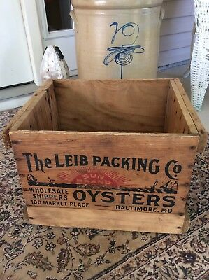 Sun Brand Oysters Wooden Box or Crate Leib Packing Baltimore, Maryland MD