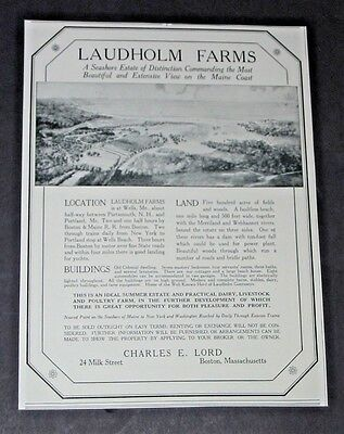 Vtg 1923 LAUDHOLM FARMS Wells Maine Home Real Estate Sale Original Print Ad