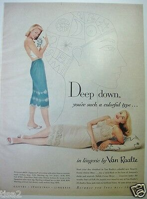 1957 VAN RAALTE Wmn Nightgown BLUE SLIP Vintage LINGERIE Photo Phrenology Art Ad