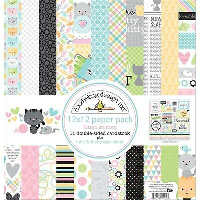 "Doodlebug Paper Pack - KITTEN SMITTEN - 12x12"" papers + stickers"