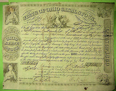 Ohio Canal Bond 1849 for $784. issued to English man at Bath, England.