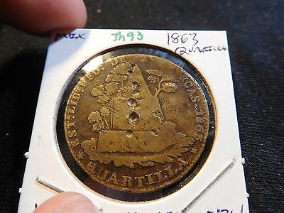 INV #Th93 Mexico 1863 Quartilla Obverse Punch Marks