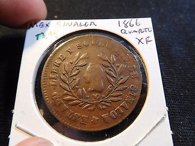 INV #Th94 Mexico Sinaloa 1866 Quartilla XF RARE This Nice