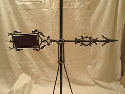 1890-1910 Metal Scroll Lightning Rod Ball Weathervane Arrow