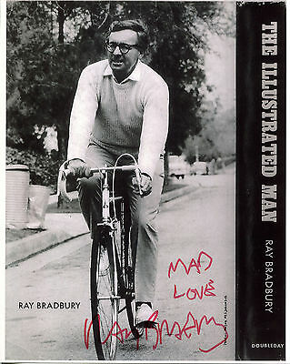 RAY BRADBURY - Photo of Younger Bradbury Riding Bicycle - SIGNED In Person